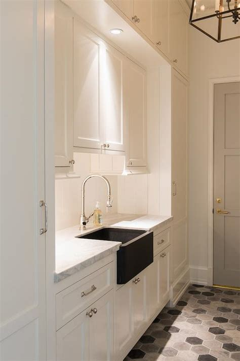 white galley laundry room  dove gray door