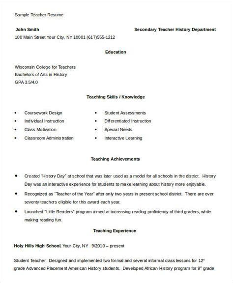 teacher resume   word  documents