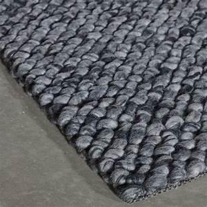 tapis prestige gris en laine waves par angelo With tapis laine gris