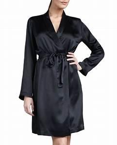 la perla studio silk robe in white black lyst With robe la perla