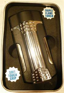 Turbo Blue Triple Flame Torch Lighter In Box