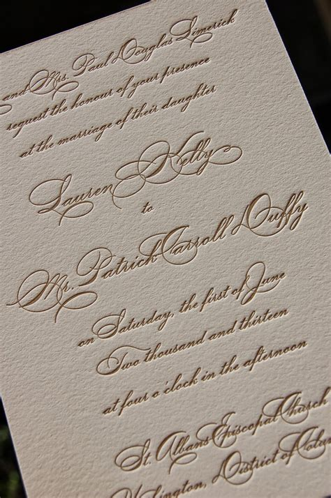 dancing  calligraphy letterpress wedding invitation