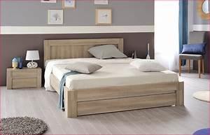 Lit En Bois : lit avec rangement bois massif ~ Melissatoandfro.com Idées de Décoration
