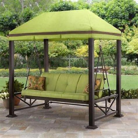 wrought iron canopy bed swing gazebo outdoor covered patio deck porch garden