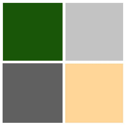 color palette hunter green light grey dark grey pink