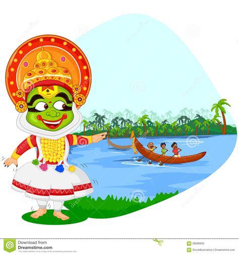 Onam Boat Icon by Kathakali Dancer Doing Boat Race Of Kerala For Stock