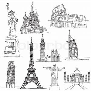 Sketches of Famous Places. Famous buildings in world ...