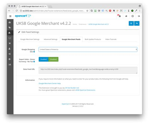 Opencart Google Merchant Shopping Feeds Xml Sitemaps