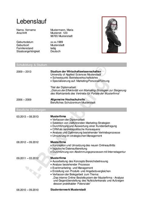 Lebenslauf Bewerbung Beispiel by Ein Ratgeber F 252 R Ihre Karriereplanung Lebenslauf