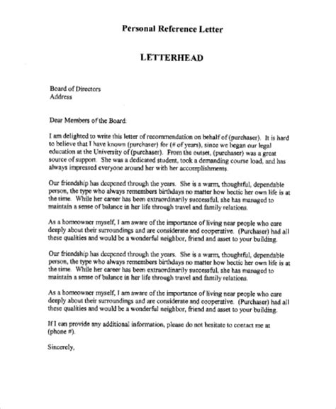 sample personal reference letter  examples  word