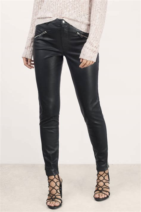 Black Pants Cropped Moto Faux Leather