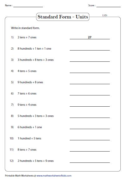 Standard And Expanded Word Form  Place Value Worksheets