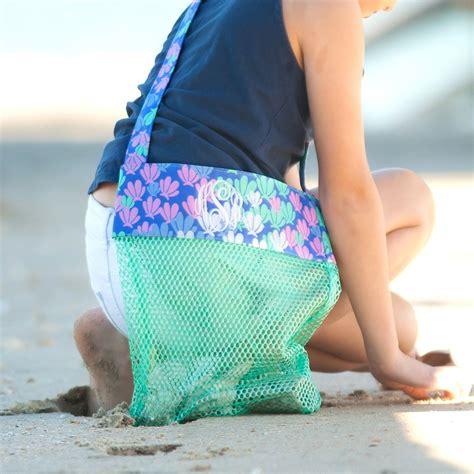 beach bag seashell tote seashell mesh bag girls beach bag shell collecting bag personalized