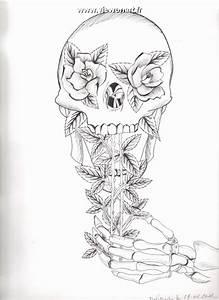 Dessin Tete De Mort Avec Rose : t te de mort creations dessin fleurs ~ Melissatoandfro.com Idées de Décoration
