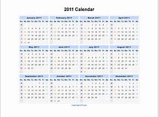 2011 Calendar Blank Printable Calendar Template in PDF