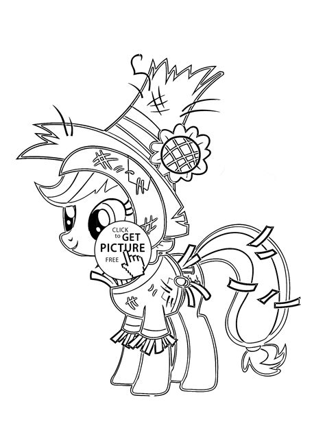 pony funny applejack pony halloween coloring