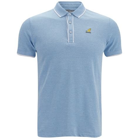 kangol mens hinton polo shirt light blue marl clothing