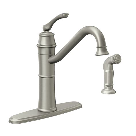 handle kitchen faucet shop moen wetherly spot resist stainless 1 handle deck