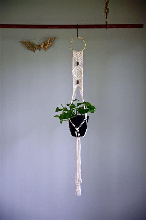decorative plant hangers indoor macrame plant hanger 45 quot white cotton w brass