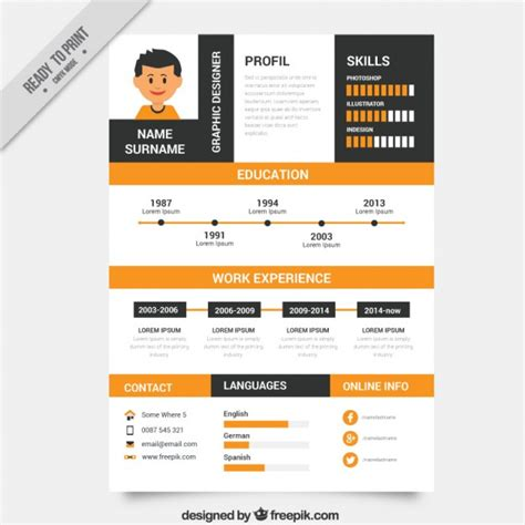 orange and black resume template vector free