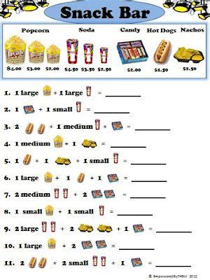 theater and snack bar worksheets for the