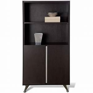 Contemporary Bookcase with Doors - Espresso | DCG Stores