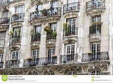 Typical Parisian Architecture With Balcony Stock Image