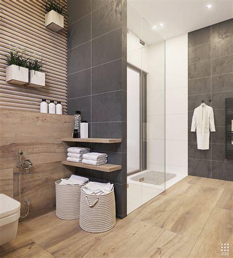 Modern Bathroom With Wood Tile by Wood And Grey Bathroom Tiles Bathroom Designs