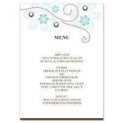 free wedding menu templates diy wedding menu card templates