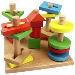 Children Wooden Toys Five Column Suit Colorful Building Blocks   Alex