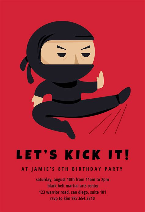 Ninja Birthday Invitation Template (free Ninja