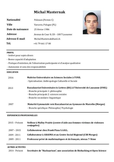 Cv Professionnel Exemple by Mod 232 Le Cv Professionnel Lusocarrelage