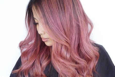 mane addicts   dye brunette hair rose gold