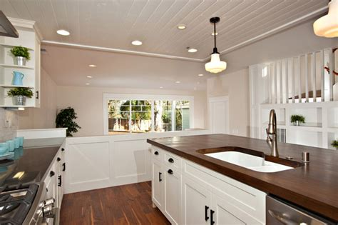 white kitchen cabinets with wood countertops birch white shaker wood countertop traditional kitchen 2092