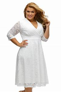 hot sexy white plus size surplice lace formal skater dress With robe plage grande taille