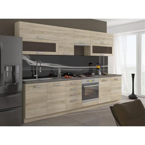 cdiscount cuisine en bois lassen cuisine complète 2m60 décor chêne clair sonoma