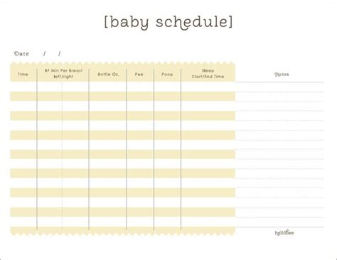 baby schedule baby schedule template for nanny schedule template free