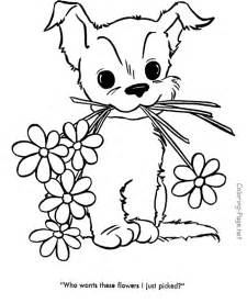 Cute Puppy Coloring Pages to Print Flowers