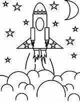 Rocket Coloring Space Ship Stars Pages Rockets sketch template