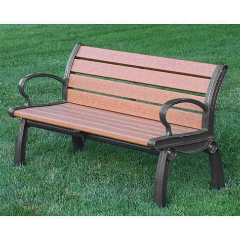 Quick Ship Outdoor Benches, 4 Foot Recycled Plastic Bench