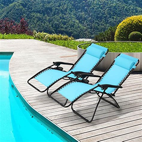ollieroo 2 pack blue zero gravity lounge chair with pillow