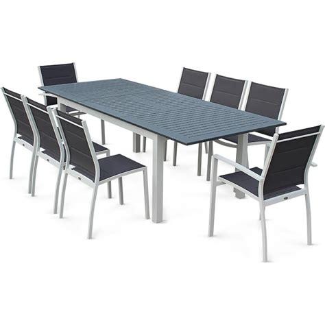 SALON DE JARDIN CHICAGO 8 PLACES TABLE u00c0 RALLONGE EXTENSIBLE 175/245CM ALU BLANC TEXTILu00c8NE GRIS ...
