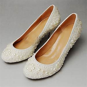 2015 attractive round toe full pearl bridal wedding dress With comfortable wedding dress shoes