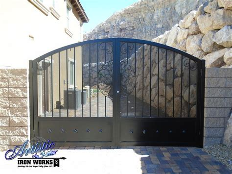 wrought iron driveway gate  perforated metal backing