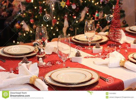 christmas dinner table stock image image  tree glass
