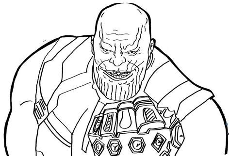 thanos smiling creepy coloring page free printable