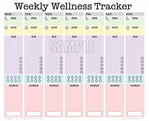 Weekly wellness tracker activity log sleep diary food for Fitness plan template weekly