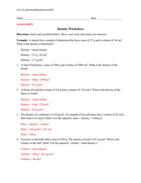 Density Worksheet With Answers Worksheets For All  Download And Share Worksheets  Free On