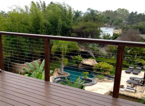 Stainless Steel Balcony Posts by Pool View Through Stainless Steel Wires Modern Home