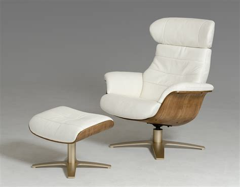 divani casa charles mid century white leather reclining